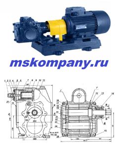 Шестеренный насос НМШ 8-25-6,3/2,5 Бронзовый с двигателем 1,5 кВт
