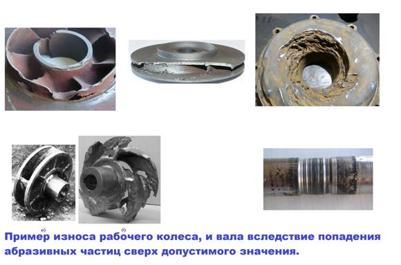 Пример износа рабочего колеса, и вала вследствие попадения абразивных частиц сверх допустимого значения 1.